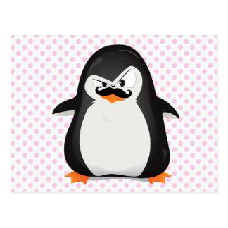 Cute Black  White Penguin And  Funny Moustache Postcard