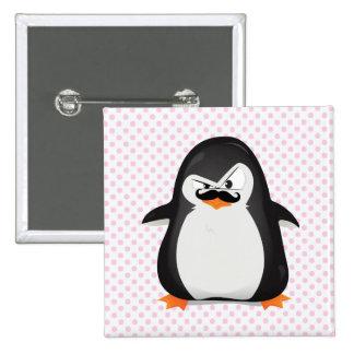Cute Black  White Penguin And  Funny Mustache 15 Cm Square Badge