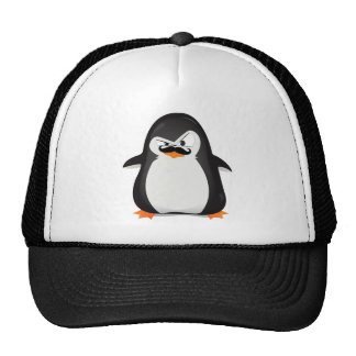 Cute Black  White Penguin And  Funny Mustache Cap