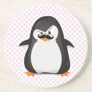 Cute Black  White Penguin And  Funny Mustache Coaster