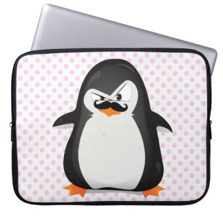 Cute Black  White Penguin And  Funny Mustache Laptop Sleeve