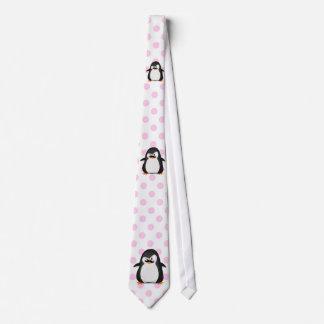 Cute Black  White Penguin And  Funny Mustache Tie