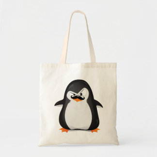 Cute Black  White Penguin And  Funny Mustache Tote Bag
