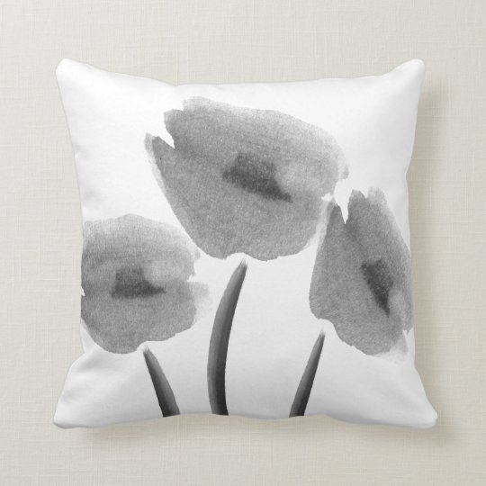 Cute Black White Peony Flowers Watercolor Pillow