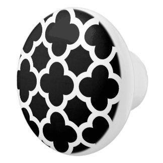 Cute Black White Retro Chic Trellis Pattern Ceramic Knob