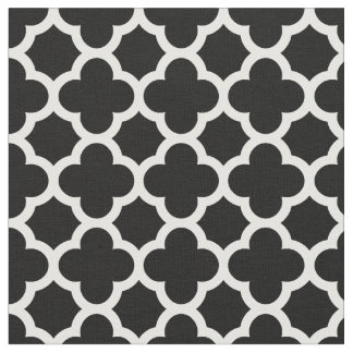 Cute Black White Retro Chic Trellis Pattern Fabric