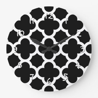 Cute Black White Retro Chic Trellis Pattern Large Clock