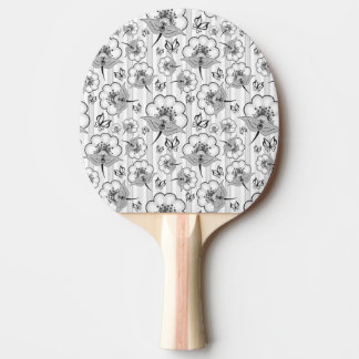 Cute black white seamless flowers patterns ping pong paddle