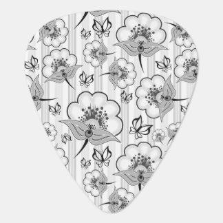 Cute black white seamless flowers patterns plectrum