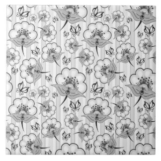Cute black white seamless flowers patterns tile