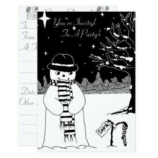 Cute black white snowman christmas invitation