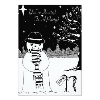 Cute black white snowman illustration christmas 9 cm x 13 cm invitation card