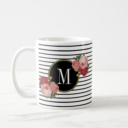 Cute Black White Striped Boho Floral Monogram Coffee Mug