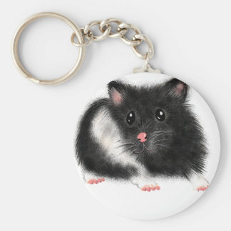 Cute Black white Syrian hamster gifts accessories Basic Round Button Key Ring