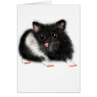 Cute Black white Syrian hamster gifts accessories Card