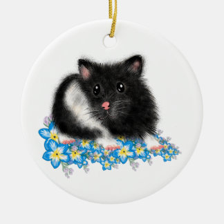 Cute Black white Syrian Hamster gifts Christmas Ornament