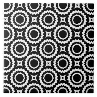 Cute black white zigzag circles pattern large square tile