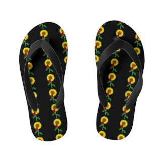 Cute Black with Sunflower Pattern Flip Flops