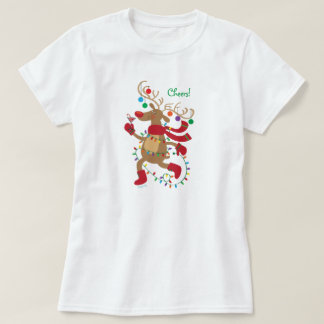 Cute Blitzen Reindeer with Holiday Drink & Lights T-Shirt