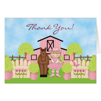 Cute Blond Cowgirl Horse and Barn Thank You Card