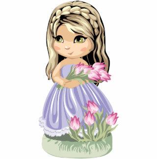 Cute Blond Girl Magnet Standing Photo Sculpture
