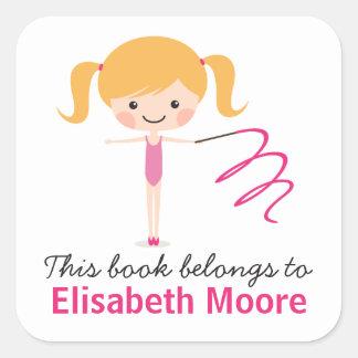 Cute blond gymnast girl cartoon bookplate book square sticker