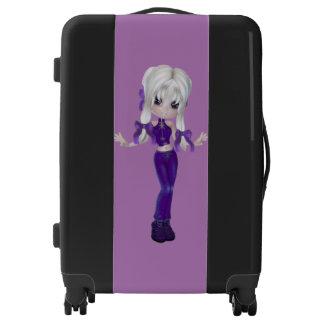 Cute Blond Purple Girl Medium Sized Luggage