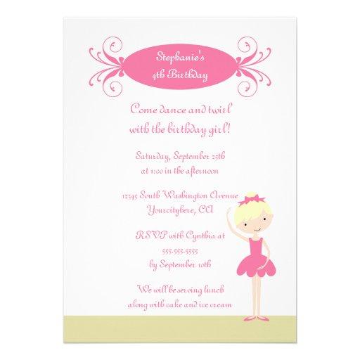 Cute blonde ballerina birthday party invitation