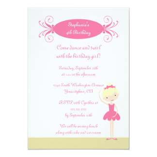 Cute blonde ballerina birthday party invitation