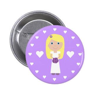 Cute Blonde Bride Hearts Customizable Button
