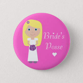 Cute Blonde Cartoon Bride's Posse Bachelorette 6 Cm Round Badge