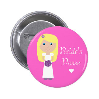 Cute Blonde Cartoon Bride's Posse Bachelorette Buttons