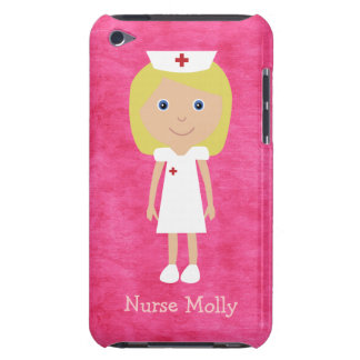 Cute Blonde Cartoon Nurse Personalized Pink Barely There iPod Case