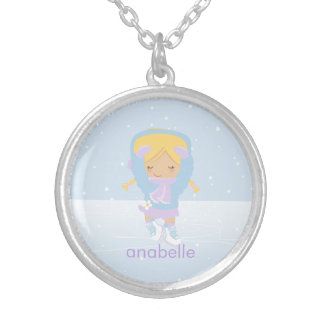 Cute Blonde Figure Skater Round Pendant Necklace