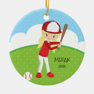 Cute Blonde Girl Baseball Personalized Christmas Round Ceramic Decoration