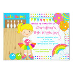 Cute Blonde Girl Bowling Birthday Party 13 Cm X 18 Cm Invitation Card