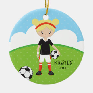 Cute Blonde Girl Soccer Personalized Christmas Round Ceramic Decoration