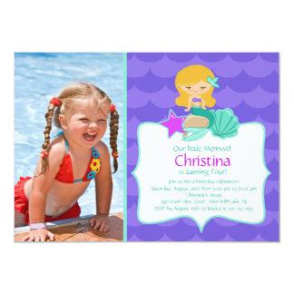 Cute Blonde Mermaid Photo Birthday Invitation