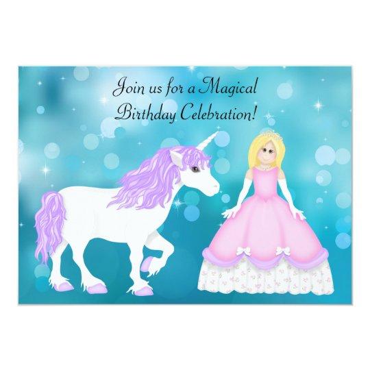 Cute Blonde Princess and Unicorn Birthday Card