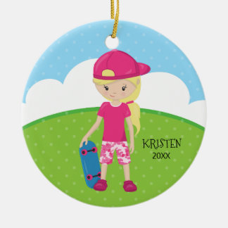 Cute Blonde Skateboard Girl Personalized Christmas Christmas Ornament