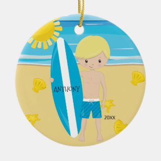 Cute Blonde Surfer Boy Personalized Christmas Round Ceramic Decoration