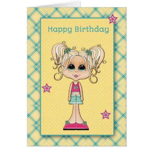 Cute Blonde Teen, Happy Birthday Card