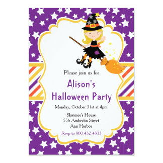 Cute Blonde Witch Halloween Party Card