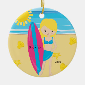 Cute BlondeSurfer Girl Personalized Christmas Christmas Ornament
