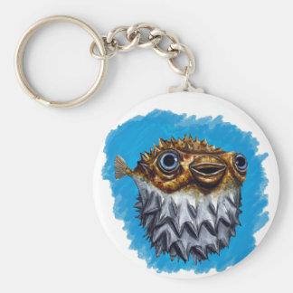 Cute Blowfish Basic Round Button Key Ring