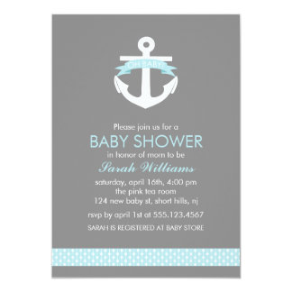 "Cute Blue Anchor Nautical Theme Baby Shower 5"" X 7"" Invitation Card"
