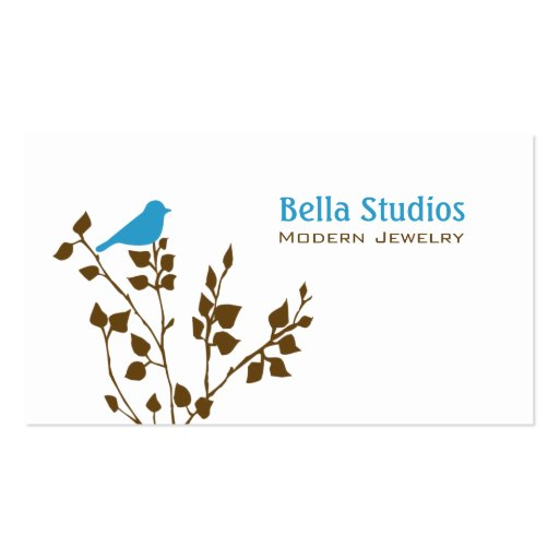 Cute Blue and Brown Bird Business Card Templates