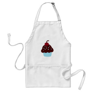 Cute Blue and Brown Birthday Cupcake Adult Apron