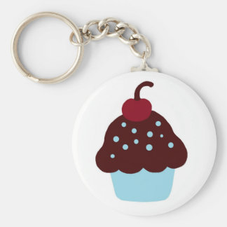 Cute Blue and Brown Birthday Cupcake Basic Round Button Key Ring