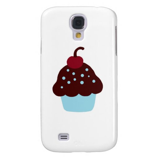 Cute Blue and Brown Birthday Cupcake Samsung Galaxy S4 Case